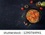 italian pasta. spaghetti with...   Shutterstock . vector #1290764941