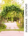 curved entrance to tropical... | Shutterstock . vector #129076565