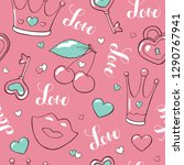 valentine's day seamless vector ... | Shutterstock .eps vector #1290767941
