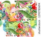 red floral botanical flower.... | Shutterstock . vector #1290783694