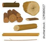 wood logs  trunks and planks... | Shutterstock .eps vector #129080027