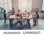 sales report. top view of two... | Shutterstock . vector #1290805027