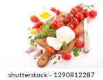 tomato  basil and mozzarella... | Shutterstock . vector #1290812287