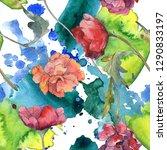 red poppy floral botanical... | Shutterstock . vector #1290833197