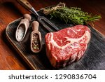 a piece of marbled beef. chef... | Shutterstock . vector #1290836704