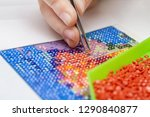 girl collect diamond painting.... | Shutterstock . vector #1290840877