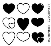 vector heart icon variation  ... | Shutterstock .eps vector #1290854674