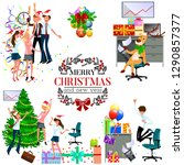 cartoon christmas party at work ... | Shutterstock .eps vector #1290857377
