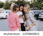 three beautiful young women are ...   Shutterstock . vector #1290860821