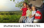three cheerful child sitting in ... | Shutterstock . vector #1290861781