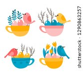 cute cup with bird  eggs and... | Shutterstock .eps vector #1290863257
