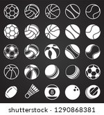 sport ball icons set on black... | Shutterstock .eps vector #1290868381