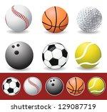 vector sport balls | Shutterstock .eps vector #129087719