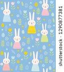 cute easter rabbits vector... | Shutterstock .eps vector #1290877381