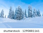 view of winter landscape with... | Shutterstock . vector #1290881161