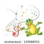 illustration of a frog with...   Shutterstock .eps vector #129088931