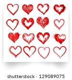set of vector sketch hearts | Shutterstock .eps vector #129089075
