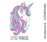 glitter unicorn drawing for t... | Shutterstock .eps vector #1290894481