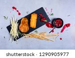 cheese plates served with bread ... | Shutterstock . vector #1290905977