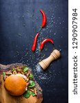 burger with chopped beef steak... | Shutterstock . vector #1290907984