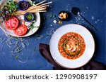 seafood soup with shrimps ... | Shutterstock . vector #1290908197