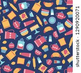 cute seamless pattern with flat ... | Shutterstock .eps vector #1290920071