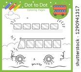 dot to dot drawing worksheet.... | Shutterstock .eps vector #1290941317