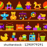 baby toy seamless pattern on... | Shutterstock .eps vector #1290979291
