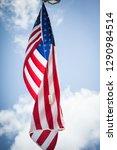 american flag in air   Shutterstock . vector #1290984514
