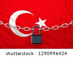 turkey flag closed chain with...   Shutterstock . vector #1290996424