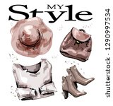 hand drawn fashion set with hat ... | Shutterstock .eps vector #1290997534