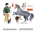 dapple grey horse with chaser... | Shutterstock .eps vector #1291002331