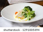 cod fish fillet with mashed... | Shutterstock . vector #1291005394