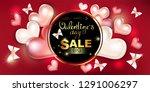 happy valentine's day  sale ... | Shutterstock .eps vector #1291006297