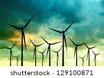 eco energy  wind turbines | Shutterstock . vector #129100871