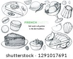 a set of  french desserts with... | Shutterstock .eps vector #1291017691