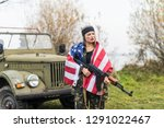 woman with american flag and...   Shutterstock . vector #1291022467