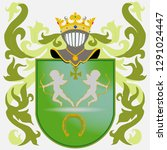 coat of arms   green. knight... | Shutterstock .eps vector #1291024447
