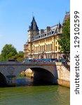 View for the Changed Bridge and La Conciergerie in Paris. - stock photo
