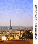 View from the hill of Montmartre on the skyline paris and Eiffel Tower. - stock photo