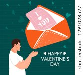 valentine's day card with happy ... | Shutterstock .eps vector #1291028527