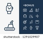 activity icon set and earphone...