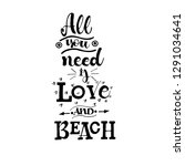 all you need is love  and beach ... | Shutterstock .eps vector #1291034641