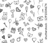 seamless pattern hand drawn... | Shutterstock .eps vector #1291034674