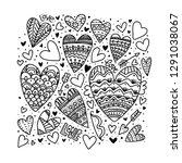 beautiful doodle hearts.... | Shutterstock .eps vector #1291038067