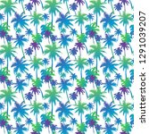 seamless pattern with palm... | Shutterstock .eps vector #1291039207