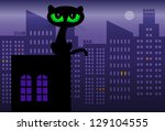 Black Cat On Roof  Vector...
