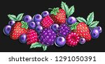 berry mix cartoon illustration | Shutterstock .eps vector #1291050391