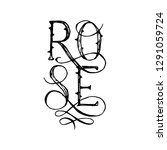 the lettering word rose with... | Shutterstock .eps vector #1291059724