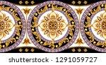 border with golden baroque... | Shutterstock .eps vector #1291059727